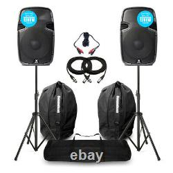 Vonyx SPJ12 V3 Active 1200W 12 DJ Disco PA Speaker (Pair) with Stands & Bags