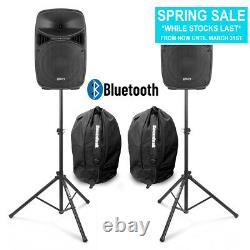 Vonyx VPS102A 10 Active Bluetooth Disco Speakers DJ PA System wth Stands & Bags