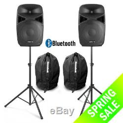 Vonyx VPS122A 12 Active Bluetooth Disco Speakers DJ PA System wth Stands & Bags