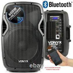 Vonyx Vocal PA Active 12 Speakers System Bluetooth MP3 1200w & Stands DJ Disco