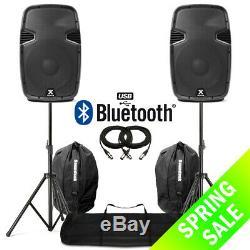 12 Bluetooth Usb Mp3 Haut-parleurs Actifs À Partir Avec Des Stands + Sacs Dj Disco 1200w