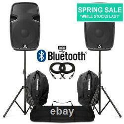 12 Haut-parleurs Bluetooth Mp3 Usb Active Powered Avec Stands + Sacs Dj Disco 1200w