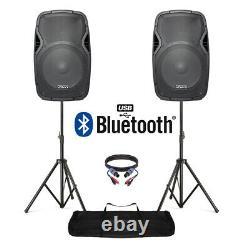 15 Bluetooth Dj Disco Speaker Set Active Pa System Avec Stands 1600w