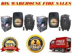 2 15 Haut-parleurs De Sonorisation Rechargeables À Piles / Dj Alimentés Par Batterie Bluetooth Usb / Fm Rgb Disco Light