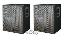 2 X Ibiza Sound 15î Basswoofer Actif 800w Dj Disco Pa Paire Système Son
