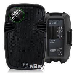 2x 12 Pouces Dj Professionnel Pa Disco Party Système Audio Haut-parleurs Actifs 1200w