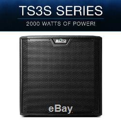 2x Alto Ts312s 12 4000w Powered Actif Pa Subwoofer Sub Président Dj Disco + Cover