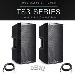 2x Alto Ts315 15 4000w Motorisé Haut-parleur Actif Pa Scène Disco Dj Band + Xlr Lead