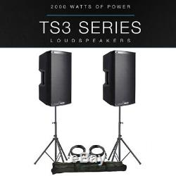 2x Alto Ts315 15 4000w Powered Pa Active Speaker Disco Band + Xlr Leads + Stands