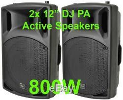 2x Dj 12 Pouces Abs Actifs Haut-parleurs Disco Party Sound System 800w