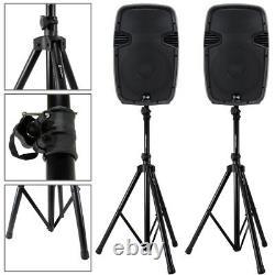 2x Ekho 12 Haut-parleurs Actifs Pa Disco Dj System + 2x Stands Karaoké Party Set