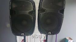 2x Ekho Rs15a 15 Haut-parleurs Pa Actifs Avec Trépied Pliable Stands Karaoké Disco