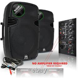 2x Ekho Rs15a 15 Pouces Haut-parleurs Actifs Studio Dj Disco Party Karaoke 1600w