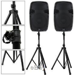 2x Haut-parleurs De Sonorisation Actifs Ekho 15 Disco Dj System + 2x Stands Karaoke Party Set