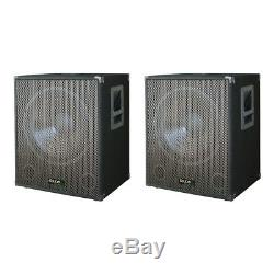 2x Ibiza Son Sub18a 2400w Basse Caisson De Basses Actif Bin Disco Dj Enceinte De Sonorisation