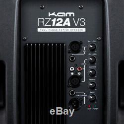 2x Kam Rz12a V3 2000w 12 Powered Haut-parleur Actif Sono Dj Disco Club Band + Stands
