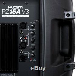 2x Kam Rz15a V3 2400w Enceinte De Sonorisation Active Amplifiée Pour Dj Disco Band Club + Stands