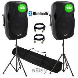 2x Pro Ap1200 Active Speaker Pa Système 12 Bluetooth Dj Disco Sound System