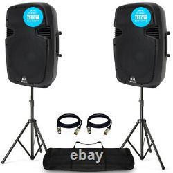 2x Pro Rs12a V3 Active Pa Speaker 2400w 12 Dj Disco Sound System Avec Stands