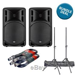2x Rcf Art 315-a Mk4 & Pa Stands & Cables 800w 15 2-way Dj Disco Active Powered