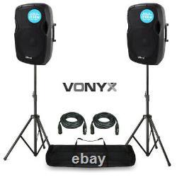 2x V-ap12a V3 Haut-parleur Pa Actif 2400w 12 Dj Disco Sound System Avec Supports