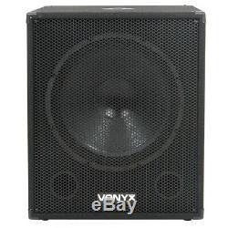 2x Vonyx 12 Party Haut-parleurs Actifs Powered Disco Dj 18 Caissons De Basse Puissance 3200w