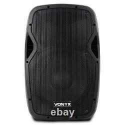 2x Vonyx Ap1200a Active 12 Inch Dj Disco Pa Haut-parleurs + Stands 1200w Max Kit