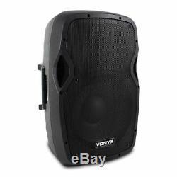 2x Vonyx Ap1200a Active 12 Pouces Dj Disco Haut-parleurs + Kit 1200w Max Stands