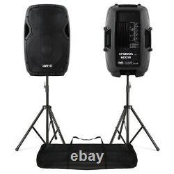 2x Vonyx Ap1200a Active 12 Pouces Dj Disco Pa Haut-parleurs + Supports 1200w Max Kit