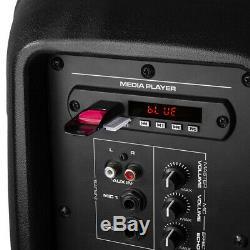 2x Vps082 Haut-parleurs Active Pa 8 Dj Disco Système Audio Avec Microphone Et Câbles