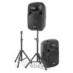 2x Vps102 Active Pa Speakers 10 Dj Disco Sound System Avec Stands & Microphone