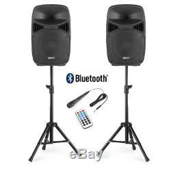 2x Vps102 Haut-parleurs Active Pa 10 Dj Disco Sound System Avec Des Stands Et Microphone