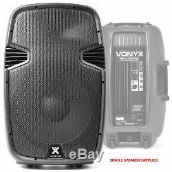 4x Vonyx Spj 15 Haut-parleurs Actifs Portable Karaoke Disco Party Système 3200w