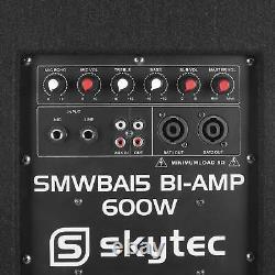 600w Total Active Subwoofer 2 X 150w Sortie Pour Haut-parleurs Satellite Disco Pa Dj