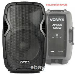 Active Powered 12 Mobile Dj Pa Disco Speaker Set Avec Stands & Câbles 1200w