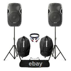 Active Powered 12 Mobile Dj Pa Disco Speaker Set + Stands, Sacs & Câbles 1200w
