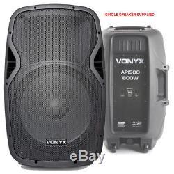 Active Powered 15 Bluetooth Dj Pa Disco Haut-parleur Ensemble Avec Stands & Câbles 1600w