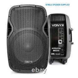 Active Powered 15 Mobile Dj Pa Disco Speaker Set Avec Stands Et Câbles 1600w
