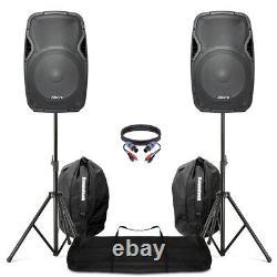 Active Powered 15 Mobile Dj Pa Disco Speaker Set + Stands, Sacs & Câbles 1600w