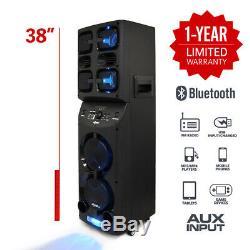 Axess Pabt6026 Portable Bluetooth Pa Party Speaker Led Disco Lights 4900 Watt Fm