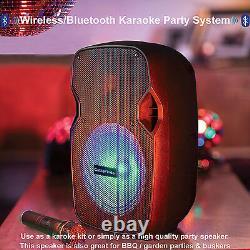 Bluetooth Karaoke Haut-parleur Et Led Disco Light System Party Musique Portable Pa Kit