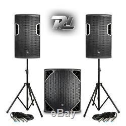 Complète Pa Sound System Dj Haut-parleurs Subwoofers Powered Disco Club Avec Stands 1300w