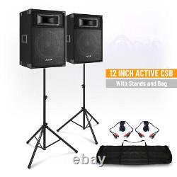 Csb 12 Haut-parleurs De Dj Actifs Avec Stands Loud 600w Karaoke Pa Disco House Party