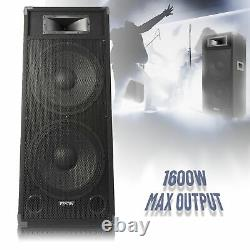 Double 15 Active Powered Pa Dj Speaker Large Disco Sound System 1600w Loud