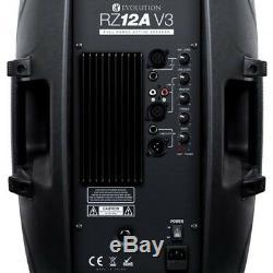 Evolution Audio Rz12a V3 Enceinte Active 2000w 12 Dj Disco (paire) Avec Pieds