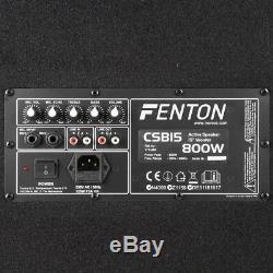 Fenton Csb15 Pa Speakers Active 15 Maison Karaoké Disco Party 1600w Pic Maximum