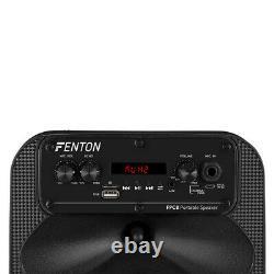 Fenton Fpc8 Haut-parleur De Partie Portable Bluetooth Mp3 Usb Disco Lights & Microphone