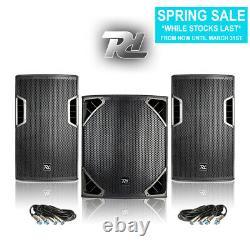Full Pa Set 12 Dj Speakers 15 Subwoofer Powerful Disco Club Installer 1300w