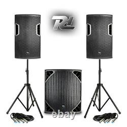 Full Pa Sound System Haut-parleurs Powered Subwoofers Dj Disco Club Avec Stands 1300w