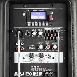 Haut-parleur Actif Pa Portable Batterie Intégrée Dj Disco + Microphones 700w Bluetooth